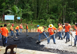 New tar-sealed carpark for visitors on the trail of Mount Serumbu