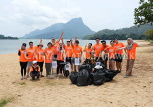 Doing their bit for the environment at Pasir Pandak Beach